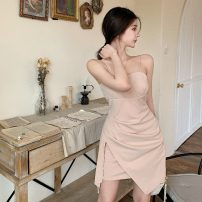 Dress Summer 2021 Rye color S, M Short skirt Fake two pieces Sleeveless commute High waist Solid color zipper Irregular skirt camisole 18-24 years old Type A Korean version Lacing, stitching, asymmetry three point one seven More than 95% cotton