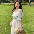 Dress Summer 2021 White, yellow S,M,L Mid length dress singleton  Short sleeve commute square neck High waist other A-line skirt puff sleeve 18-24 years old Type A Korean version bow Four point two 51% (inclusive) - 70% (inclusive)