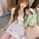 Dress Summer 2021 white S, M Short skirt singleton  Sleeveless commute High waist Solid color Socket A-line skirt camisole 18-24 years old Type A Korean version Bandage four point one three 31% (inclusive) - 50% (inclusive) cotton