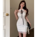Dress Summer 2021 white S,M,L Short skirt singleton  Sleeveless commute High waist other One pace skirt Hanging neck style 18-24 years old Type H Retro Bow, open back, lace, lace Four point nine