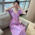 Dress Summer 2021 Purple, blue Average size Mid length dress singleton  Short sleeve commute square neck High waist Solid color A-line skirt puff sleeve 18-24 years old Type A Korean version Four point one 81% (inclusive) - 90% (inclusive)