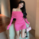Dress Summer 2021 Picture color Average size Short skirt singleton  Long sleeves commute One word collar High waist Solid color Socket One pace skirt routine 18-24 years old Type A Korean version Four point eight