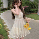 Dress Summer 2021 Apricot S,M,L Short skirt singleton  commute High waist Solid color Socket A-line skirt camisole 18-24 years old Type A Korean version four point one zero