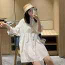 Dress Spring 2021 White, green Average size Middle-skirt singleton  elbow sleeve commute Loose waist Solid color Single breasted 18-24 years old Type H Korean version Button Three point one other