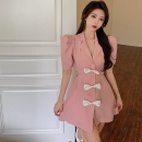 Dress Summer 2021 White, black, pink S,M,L Short skirt singleton  Short sleeve commute tailored collar High waist other A-line skirt puff sleeve 18-24 years old Type A Korean version Bowknot, hollow out, open back, button Four point one 31% (inclusive) - 50% (inclusive) other