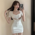 Dress Summer 2021 White, blue Average size Short skirt singleton  Short sleeve commute High waist Solid color Socket One pace skirt routine 18-24 years old Type A Korean version Hollowed out, pleated four point one three