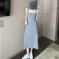 Dress Summer 2021 Gray, black Average size longuette singleton  Sleeveless commute square neck High waist Solid color Socket A-line skirt 18-24 years old Type A Korean version backless three point two seven