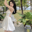 Dress Summer 2021 white S, M Short skirt singleton  Sleeveless commute High waist Solid color A-line skirt Hanging neck style 18-24 years old Type A Korean version Bows, open backs, bandages Four point nine 31% (inclusive) - 50% (inclusive)