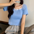 T-shirt Apricot, white, purple, blue, black, pink Average size Summer 2021 Short sleeve square neck Self cultivation have cash less than that is registered in the accounts routine commute other 96% and above 18-24 years old Korean version Solid color four point one four Lace, bow