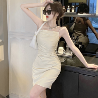 Dress Summer 2021 Apricot, black S,M,L Short skirt singleton  Sleeveless commute High waist Solid color One pace skirt camisole 18-24 years old Type H Korean version Four point two 31% (inclusive) - 50% (inclusive)