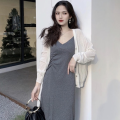 Fashion suit Summer 2021 Average size Black dress, grey dress, white cardigan 18-25 years old Four point five