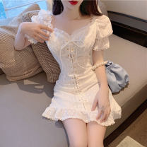 Dress Spring 2021 White, purple M, L Short skirt singleton  Short sleeve commute square neck High waist Solid color A-line skirt puff sleeve Others 18-24 years old Type A Korean version Pleating five point three zero 31% (inclusive) - 50% (inclusive) cotton