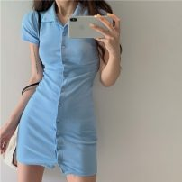 Dress Spring 2021 White, green, blue, black, pink Average size Short skirt singleton  Short sleeve commute High waist Solid color Single breasted One pace skirt routine Others 18-24 years old Type A Korean version Button three point one five