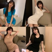 Dress Summer 2021 Khaki, white, blue, black Average size Short skirt singleton  Short sleeve commute High waist Solid color Socket One pace skirt routine 18-24 years old Type A Korean version Four point eight