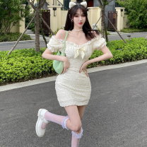 Dress Summer 2021 Picture color S,M,L Short skirt singleton  Short sleeve commute One word collar High waist Solid color One pace skirt puff sleeve 18-24 years old Type A Korean version bow Four point eight