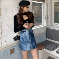 skirt Summer 2021 XS,S,M,L Blue, black Short skirt commute High waist Denim skirt other Type A 18-24 years old four point one zero 51% (inclusive) - 70% (inclusive) Tie dye, button, zipper Retro