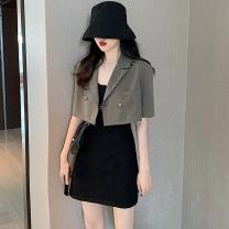 Fashion suit Summer 2021 S. M, l, average size Classic black suit coat, grey green suit coat, black suspender skirt 18-25 years old Four point eight 31% (inclusive) - 50% (inclusive)