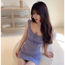 Dress Summer 2021 violet Average size Short skirt singleton  Sleeveless commute square neck High waist Solid color Socket One pace skirt camisole 18-24 years old Type A Korean version backless Four point three 31% (inclusive) - 50% (inclusive)
