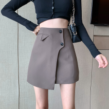 skirt Summer 2021 S,M,L Black, brown Short skirt commute High waist A-line skirt Solid color Type A 18-24 years old Four point six Asymmetry, button Korean version