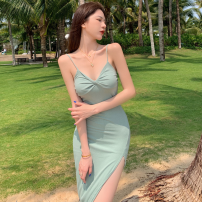 Dress Summer 2021 Bean paste green S, M Mid length dress singleton  Sleeveless commute High waist Solid color Socket One pace skirt camisole 18-24 years old Type A Korean version fold Four point eight