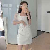 Dress Summer 2021 White, black Average size Short skirt singleton  Short sleeve commute square neck High waist Solid color Socket A-line skirt puff sleeve 18-24 years old Type A Korean version Bandage Four point four