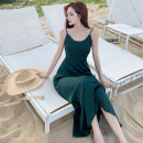 Dress Summer 2021 Dark green, orange, black S,M,L longuette singleton  Sleeveless commute High waist Solid color Socket A-line skirt camisole 18-24 years old Type A Korean version backless Four point seven 51% (inclusive) - 70% (inclusive)
