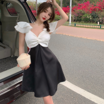 Dress Summer 2021 black S, M Short skirt singleton  commute V-neck High waist zipper A-line skirt Flying sleeve Others 18-24 years old Type A Korean version four point one three 71% (inclusive) - 80% (inclusive) other polyester fiber