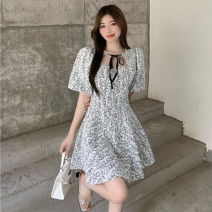 Dress Summer 2021 Light blue, black S, M Short skirt singleton  Short sleeve commute High waist Broken flowers Socket A-line skirt puff sleeve Others 18-24 years old Type A Korean version Frenulum three point two eight 51% (inclusive) - 70% (inclusive) Lace polyester fiber