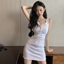 Dress Spring 2021 White, black, grey vest S. M, l, average size Short skirt singleton  Sleeveless commute Solid color Socket One pace skirt Others 18-24 years old seven point two four