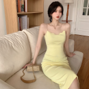 Dress Summer 2021 Green, yellow Average size longuette singleton  Sleeveless commute High waist Solid color Socket One pace skirt camisole 18-24 years old Type A Korean version four point one four