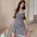 Dress Summer 2021 Purple dress S,M,L Short skirt singleton  commute High waist Broken flowers Socket A-line skirt camisole 18-24 years old Type A Korean version Stitching, bandage, lace four point one two