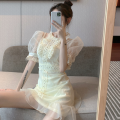 Dress Summer 2021 Picture color S, M Short skirt singleton  Short sleeve commute Crew neck High waist Solid color A-line skirt puff sleeve 18-24 years old Type A Korean version Lotus leaf edge 4..7