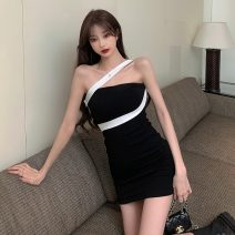 Dress Summer 2021 Picture color Average size Short skirt singleton  Long sleeves commute High waist Socket One pace skirt routine 18-24 years old Type A Korean version three point two six