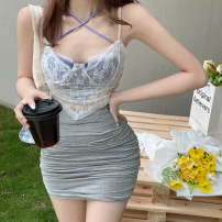 Fashion suit Summer 2021 Average size LACE VEST, grey skirt 18-25 years old Four point eight 30% and below