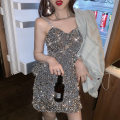 Dress Summer 2021 Gray, black S, M Short skirt singleton  Sleeveless commute High waist Solid color Socket One pace skirt camisole 18-24 years old Type A Korean version Open back, sequins four point one two