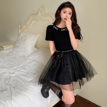 Dress Summer 2021 Picture color S, M Short skirt singleton  Short sleeve commute Crew neck High waist Solid color A-line skirt routine 18-24 years old Type A Korean version Bowknot, stitching, mesh Four point five