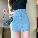 skirt Summer 2021 S,M,L blue Short skirt commute High waist A-line skirt Solid color Type A 18-24 years old four point one one 51% (inclusive) - 70% (inclusive) Denim cotton Button Korean version