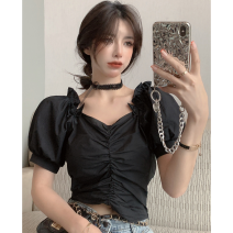 shirt White, black Average size Summer 2021 other 30% and below Short sleeve commute Short style (40cm < length ≤ 50cm) square neck Socket puff sleeve Solid color 18-24 years old Self cultivation Korean version four point one one Bow, fold