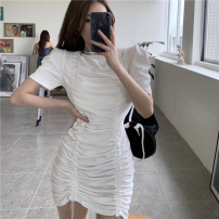 Dress Summer 2021 White, black Average size Short skirt singleton  Short sleeve commute Crew neck High waist Solid color One pace skirt puff sleeve 18-24 years old Type A Korean version Pleating four point one five