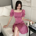 Dress Summer 2021 White, purple S,M,L Short skirt singleton  Short sleeve commute square neck High waist Solid color Socket A-line skirt puff sleeve 18-24 years old Type A Retro Button four point one five
