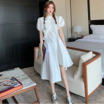 Dress Summer 2021 White, Navy S,M,L Mid length dress singleton  Short sleeve commute Crew neck High waist Solid color Socket A-line skirt puff sleeve 18-24 years old Type A Korean version Fold, asymmetry, button three point one eight