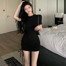 Dress Summer 2021 Gray, black Average size Short skirt singleton  Short sleeve commute Crew neck High waist Solid color Socket One pace skirt routine 18-24 years old Type A Korean version Pleat, pleat four point one two cotton