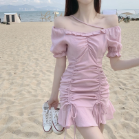 Dress Summer 2021 Pink, black S, M Short skirt singleton  Short sleeve commute square neck High waist Solid color One pace skirt puff sleeve 18-24 years old Type A Korean version Pleating Four point two