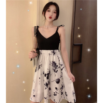 Dress Summer 2021 Picture color S,M,L Short skirt singleton  Sleeveless commute V-neck High waist Socket A-line skirt camisole 18-24 years old Type A Korean version Splicing three point three one 31% (inclusive) - 50% (inclusive)