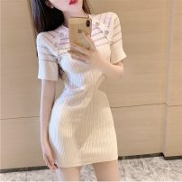 Dress Summer 2021 White, black Average size Short skirt singleton  Short sleeve commute Crew neck High waist other One pace skirt routine 18-24 years old Type A Korean version Cut out, button four point one three 31% (inclusive) - 50% (inclusive)