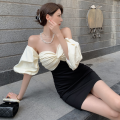 Dress Summer 2021 Picture color S, M Short skirt singleton  Short sleeve commute One word collar High waist Socket A-line skirt puff sleeve 18-24 years old Type A Korean version Splicing three point three one