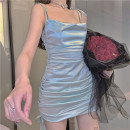 Dress Spring 2021 Light blue S,M,L Short skirt singleton  Sleeveless commute One word collar High waist Solid color camisole 18-24 years old Type A Korean version Fold, strap Seven point two