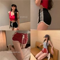 Casual pants Grey vest, red vest, black shorts, red shorts S, M Summer 2021 shorts Wide leg pants High waist commute Thin money 18-24 years old 51% (inclusive) - 70% (inclusive) two point one nine other Korean version