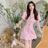 Dress Summer 2021 White, pink S,M,L Short skirt singleton  Short sleeve commute V-neck High waist Solid color Single breasted A-line skirt puff sleeve 18-24 years old Type A Korean version Button four point one three