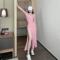 Dress Summer 2021 Black, pink Average size longuette singleton  Short sleeve commute Crew neck High waist Solid color Socket One pace skirt routine 18-24 years old Type A Korean version two point two six